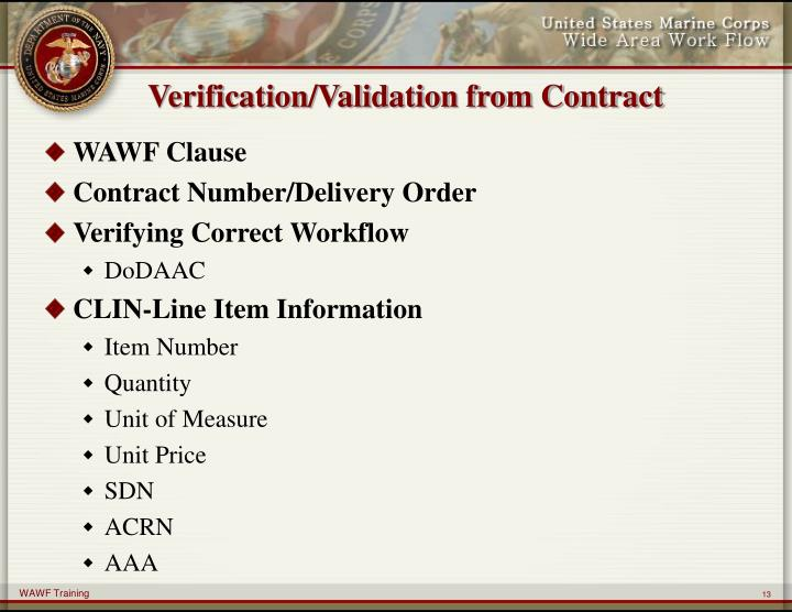 Verification/Validation from Contract