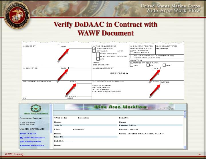 Verify DoDAAC in Contract with