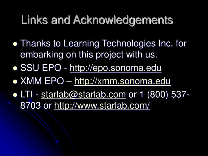 Links and Acknowledgements