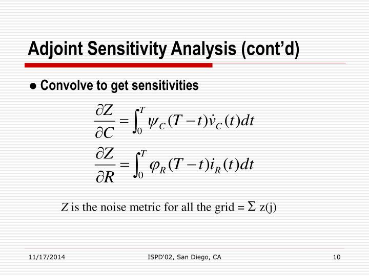 Adjoint Sensitivity Analysis (cont'd)