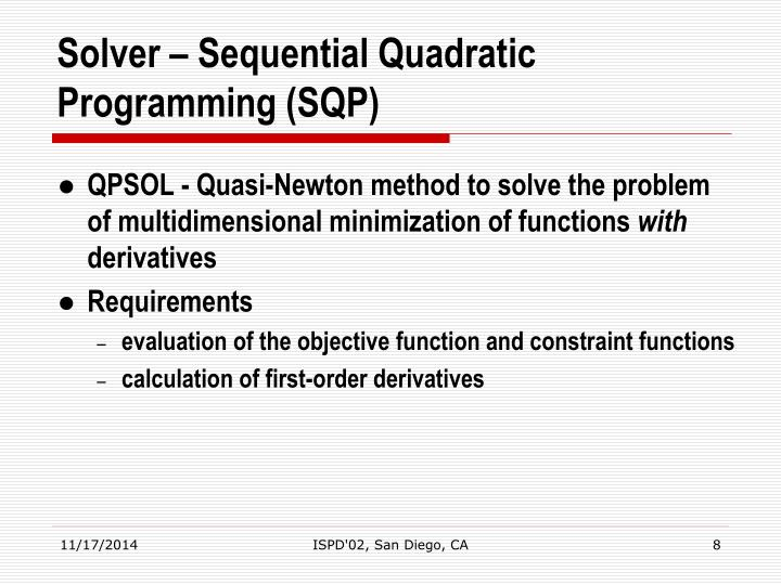 Solver – Sequential Quadratic Programming (SQP)