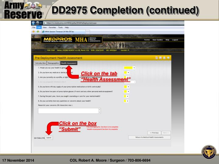 DD2975 Completion (continued)