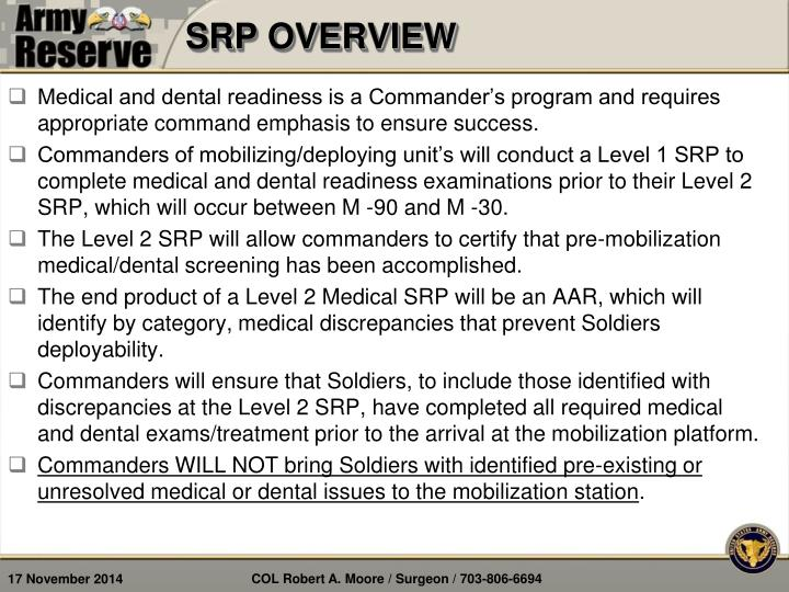 SRP OVERVIEW