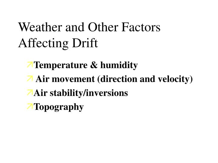 Weather and Other Factors Affecting Drift