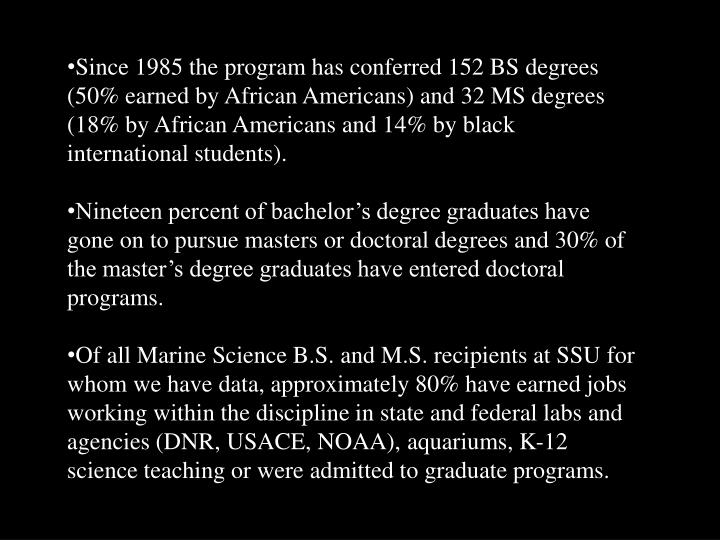 Since 1985 the program has conferred 152 BS degrees (50% earned by African Americans) and 32 MS degrees (18% by African Americans and 14% by black international students).