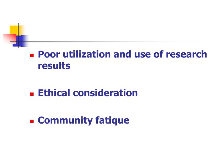 Poor utilization and use of research results