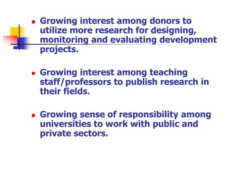 Growing interest among donors to utilize more research for designing, monitoring and evaluating development projects.