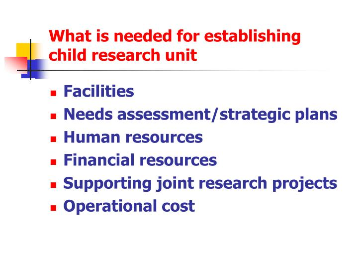 What is needed for establishing