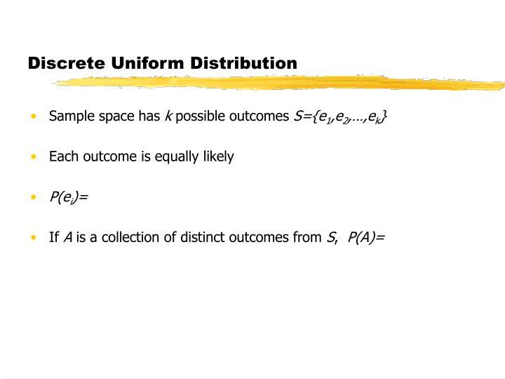 Discrete Uniform Distribution