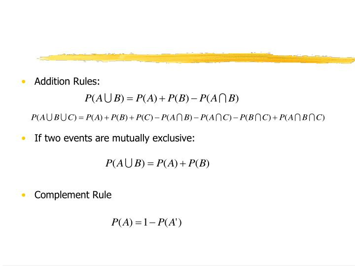 Addition Rules: