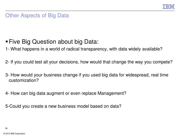 Other Aspects of Big Data