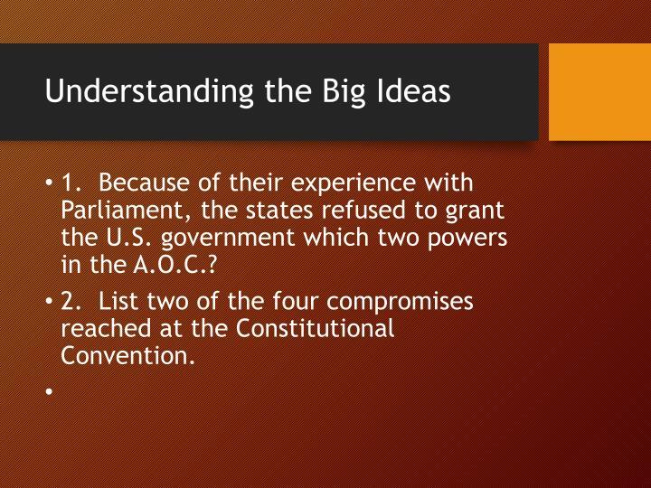 Understanding the Big Ideas