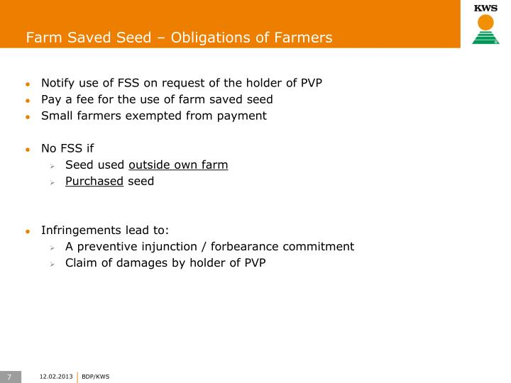 Farm Saved Seed – Obligations of Farmers