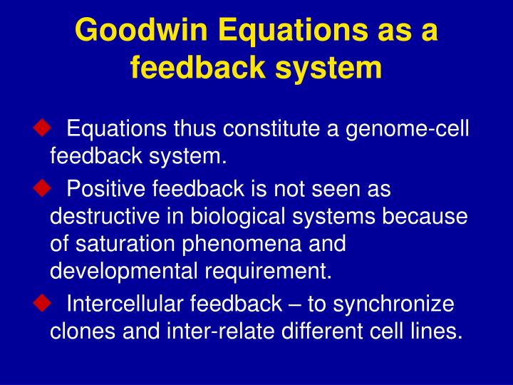 Goodwin Equations as a feedback system