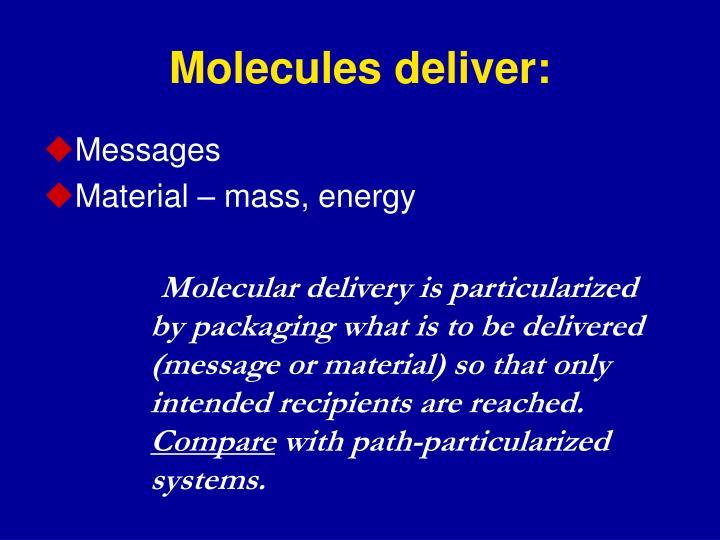 Molecules deliver: