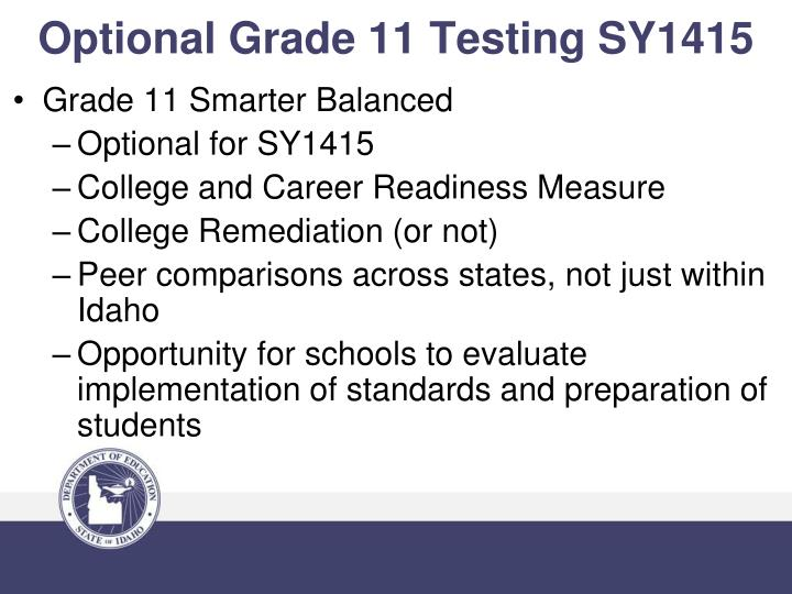 Optional Grade 11 Testing