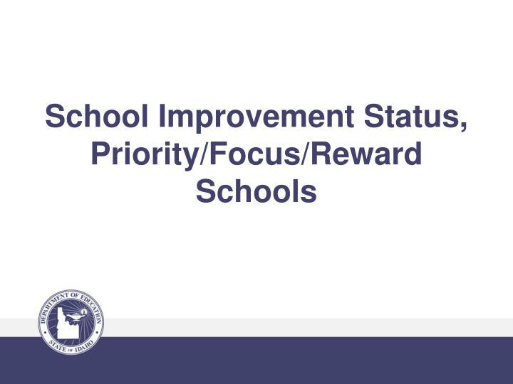 School Improvement Status, Priority/Focus/Reward Schools