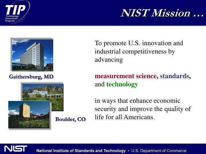 NIST Mission …