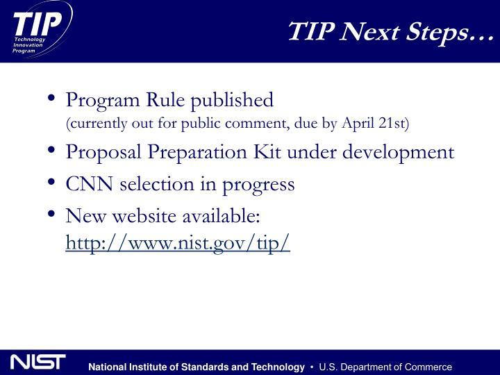 TIP Next Steps…