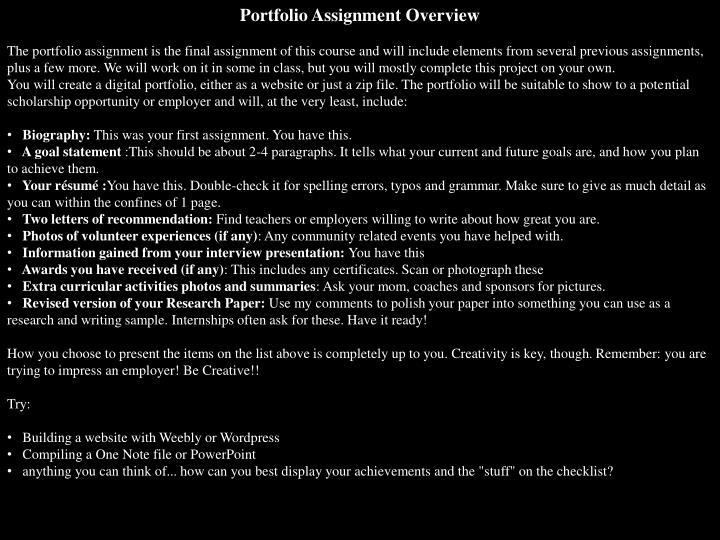 Portfolio Assignment Overview