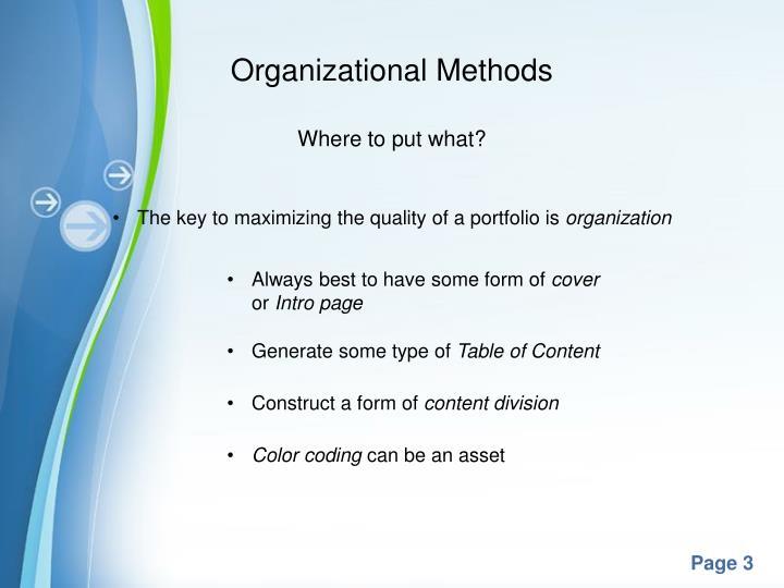 Organizational Methods