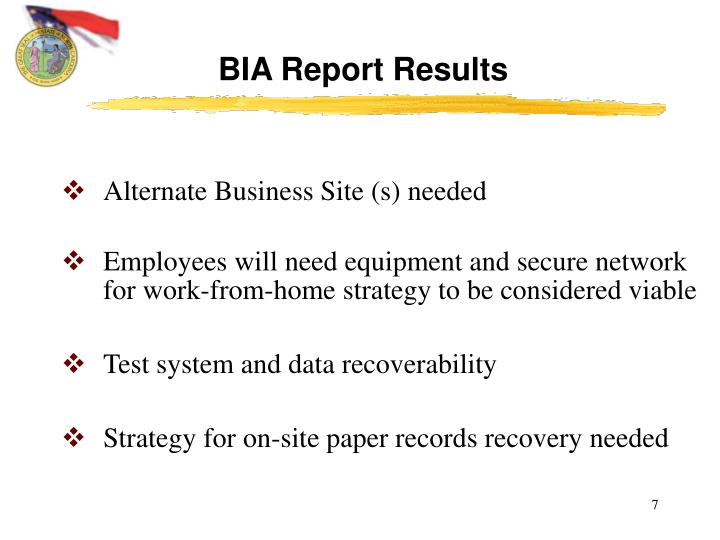 BIA Report Results