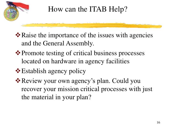 How can the ITAB Help?