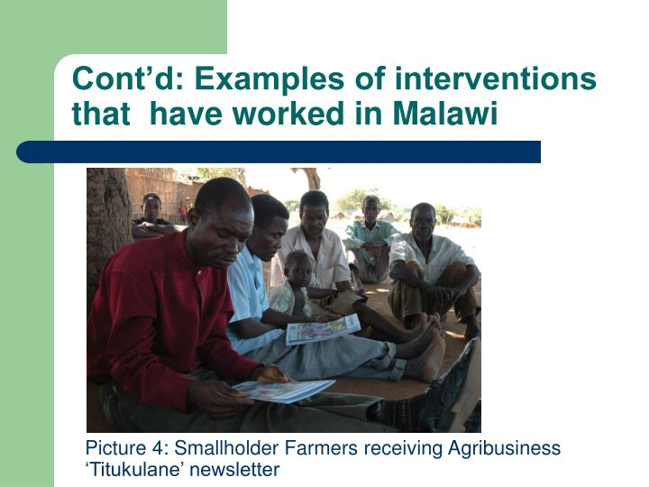 Cont'd: Examples of interventions that  have worked in Malawi