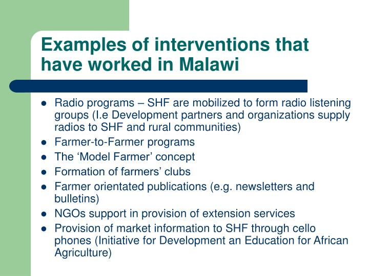 Examples of interventions that  have worked in Malawi
