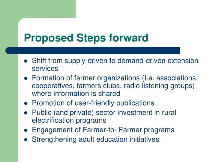Proposed Steps forward
