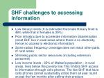 shf challenges to accessing information