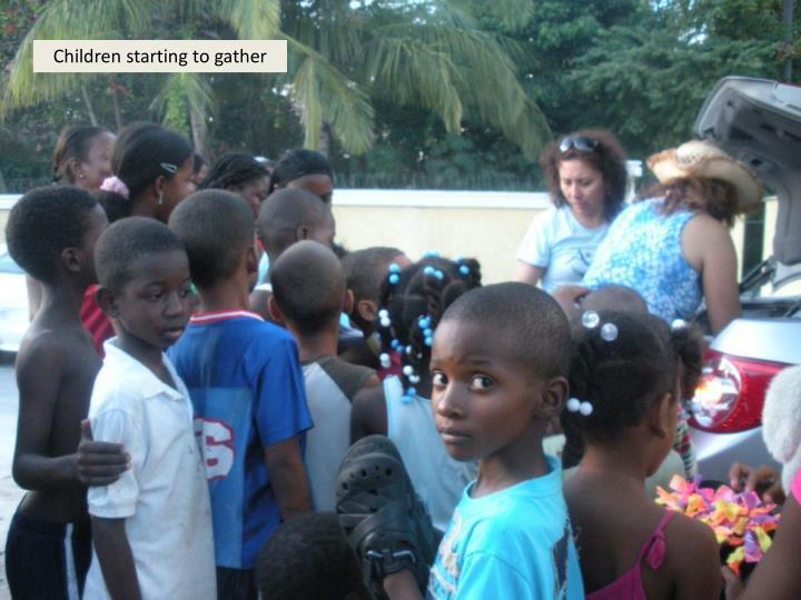 Children starting to gather