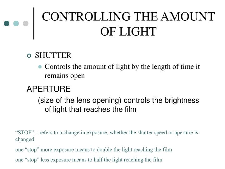 CONTROLLING THE AMOUNT OF LIGHT