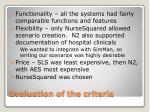 evaluation of the criteria