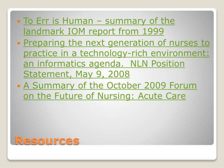 To Err is Human – summary of the landmark IOM report from 1999