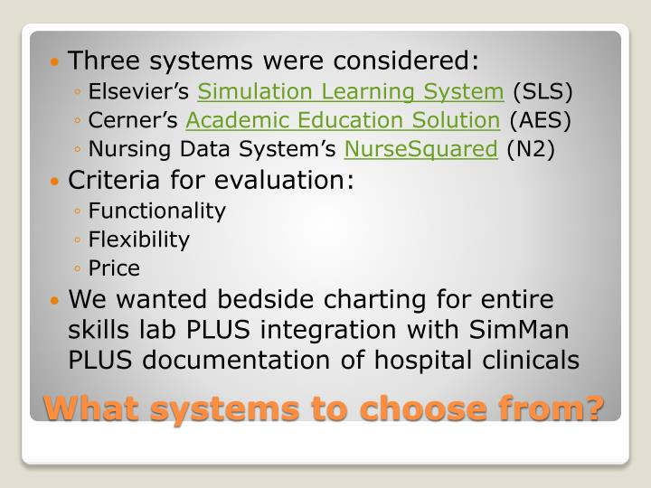 Three systems were considered: