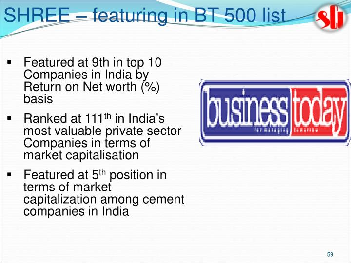 SHREE – featuring in BT 500 list