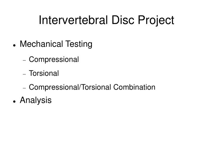 Intervertebral Disc Project