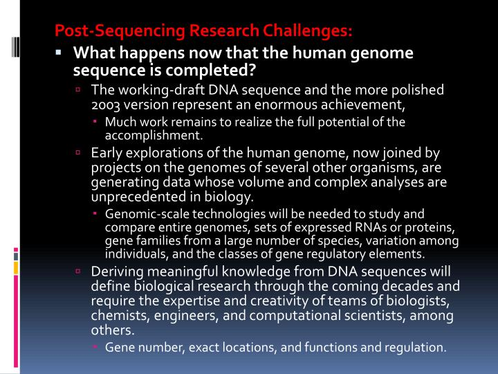 Post-Sequencing Research Challenges: