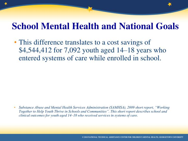 This difference translates to a cost savings of $4,544,412 for 7,092 youth aged 14–18 years who entered systems of care while enrolled in school.