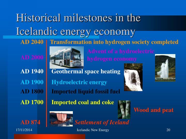 Historical milestones in the Icelandic energy economy
