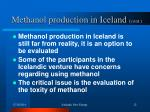 methanol production in iceland cont