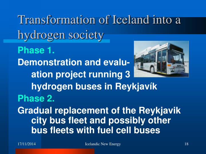 Transformation of Iceland into a hydrogen society