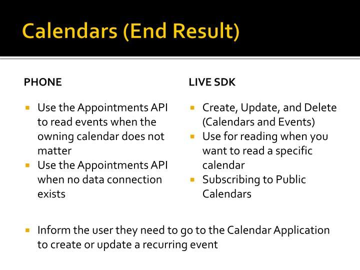 Calendars (End Result)