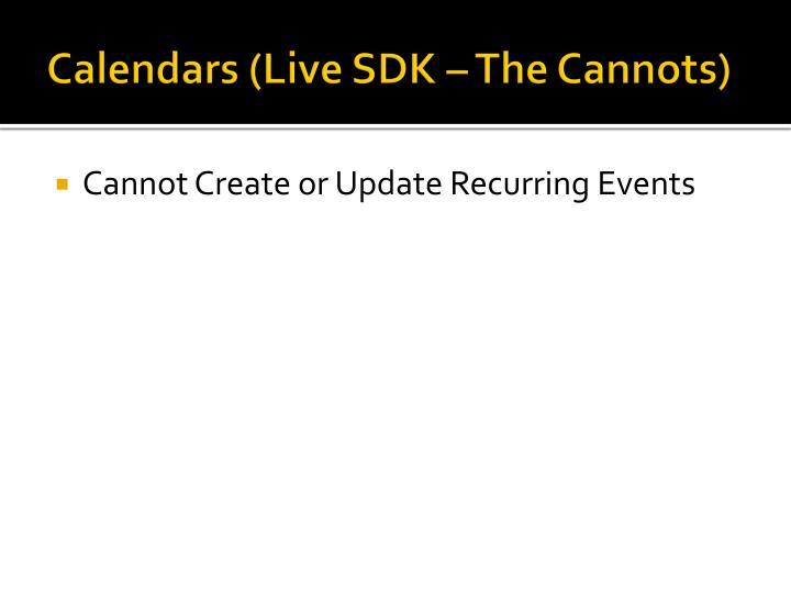 Calendars (Live SDK – The