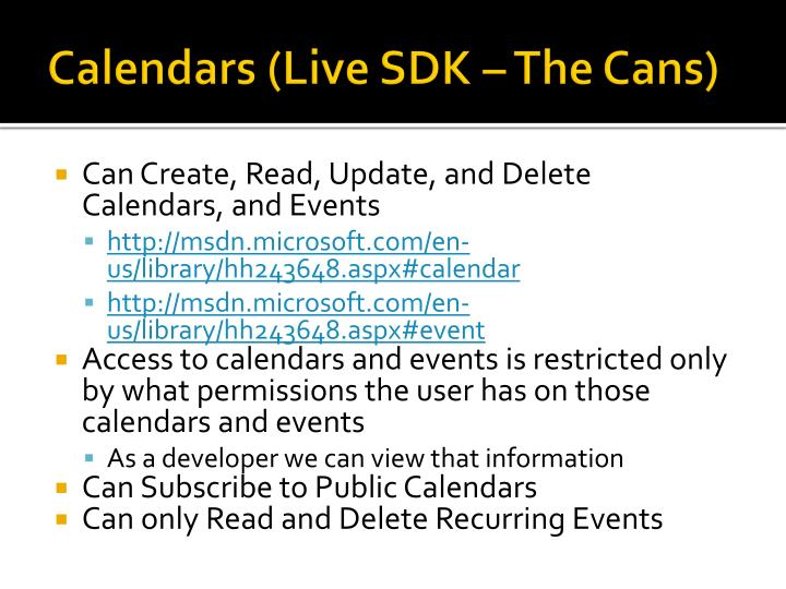 Calendars (Live SDK – The Cans)