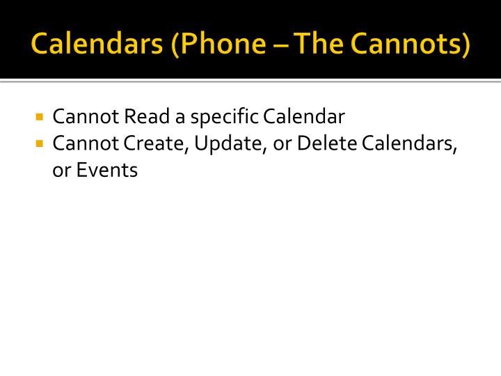 Calendars (Phone – The