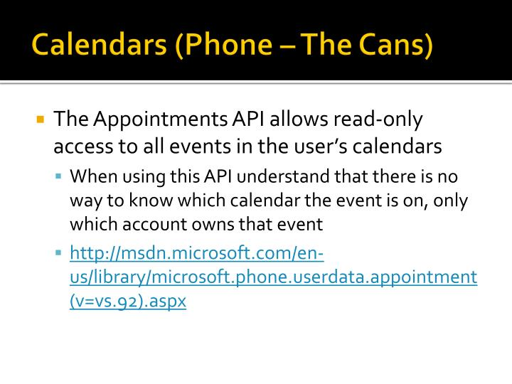 Calendars (Phone – The Cans)