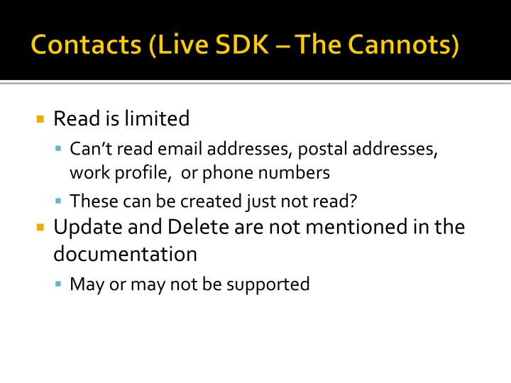 Contacts (Live SDK – The