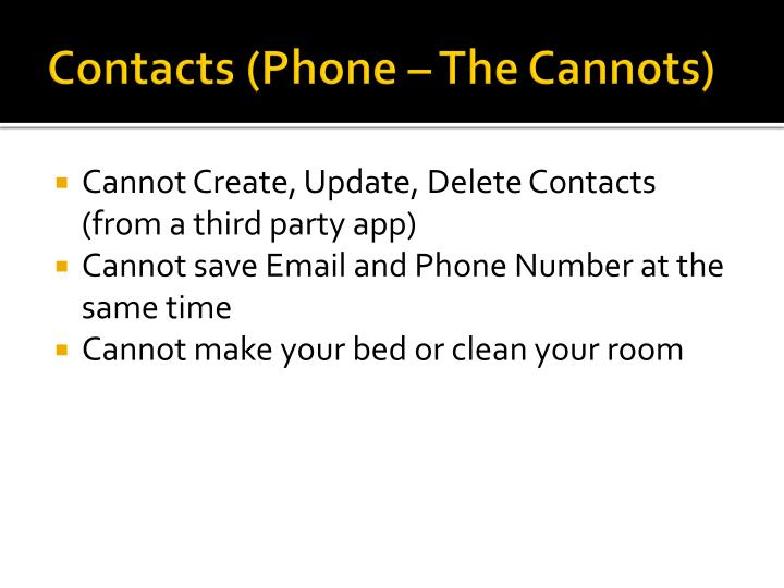 Contacts (Phone – The